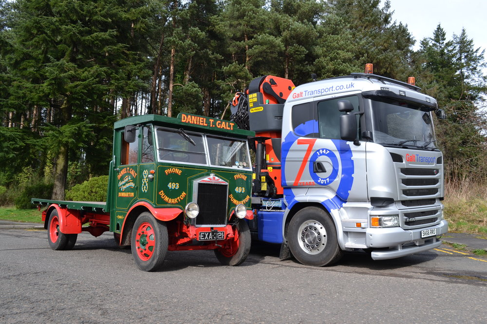 The 70th anniversary truck sits alongside the vintage Albion in original livery