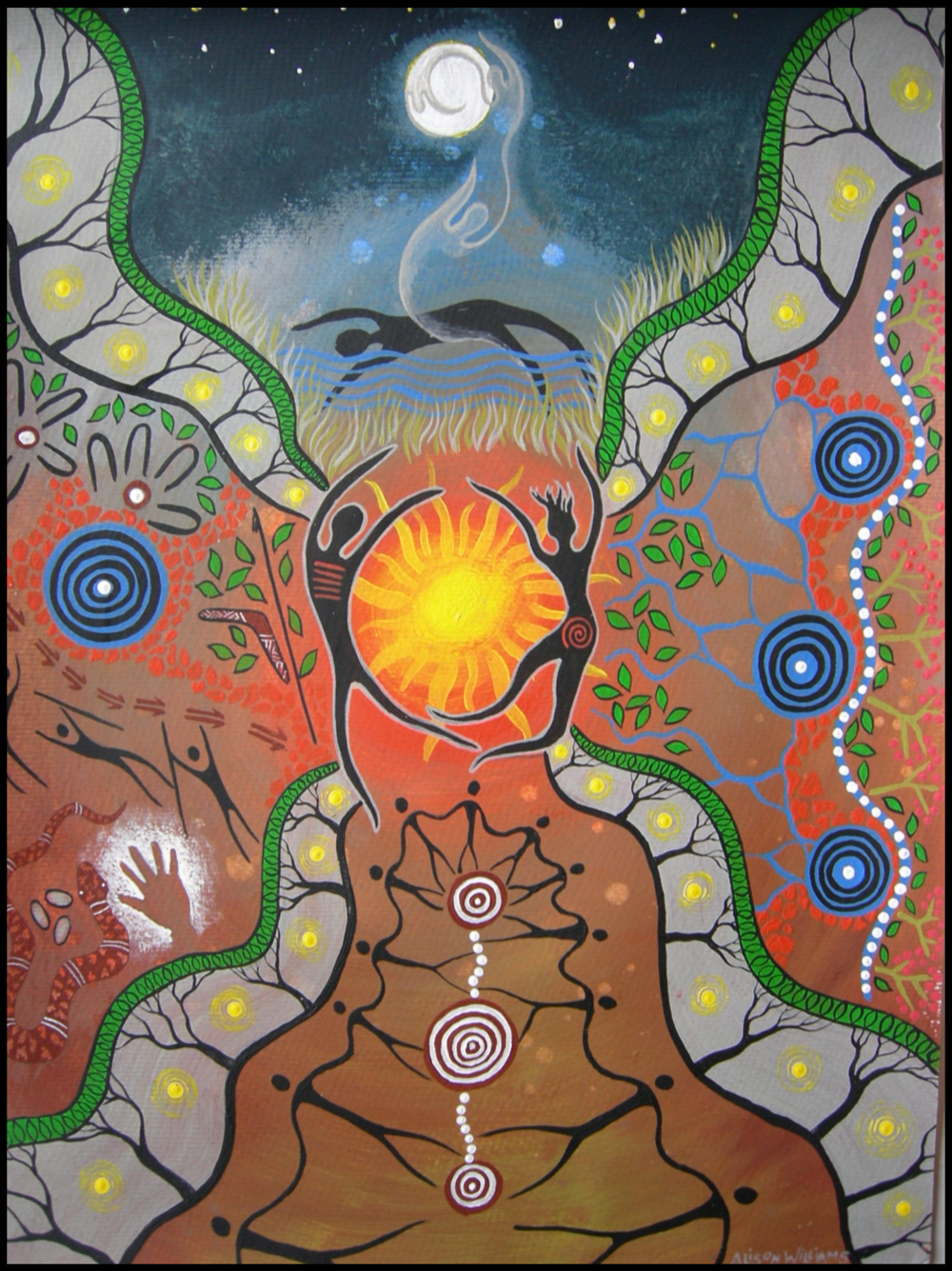 """Stories of Creation"" by Alison Williams  is a tribute to the creation Spirits of the Gumbayngirr nation and their stories."