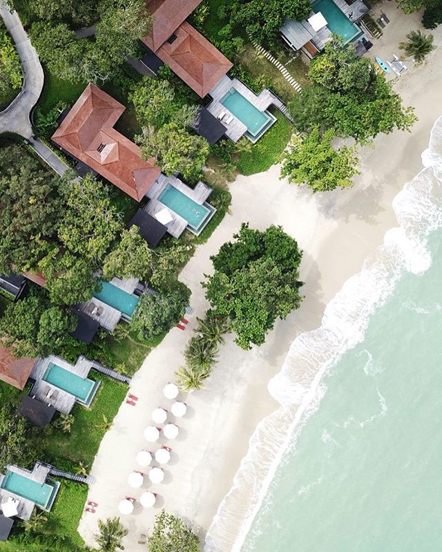 Aerial shot of our waterfront pool villa at the Ritz Cartlon Langkawki, Malaysia #theluxurylife