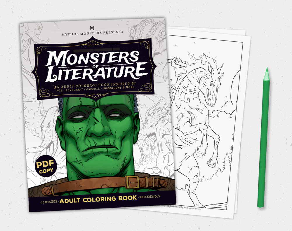 $7.99  Monsters of Literature PDF Printable Adult Coloring Book,  Digital Download only