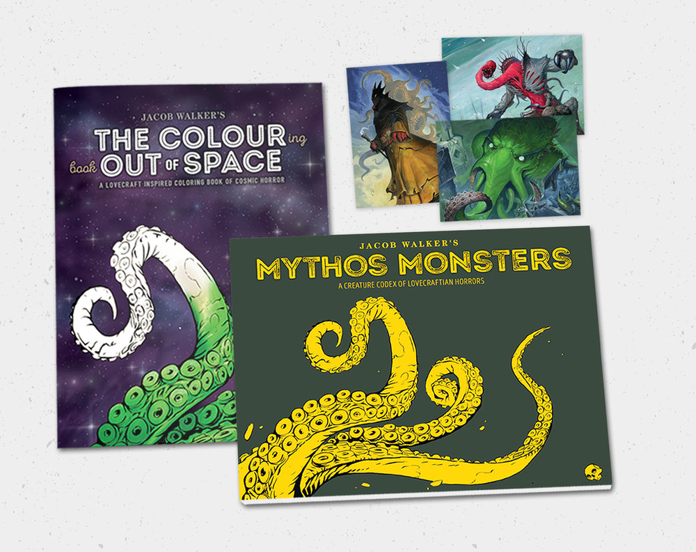 $40  LIMITED EDITION CULTIST COLLECTION: Mythos Monsters Signed, The Colouring Book Out of Space, and three 5x7 postcard,