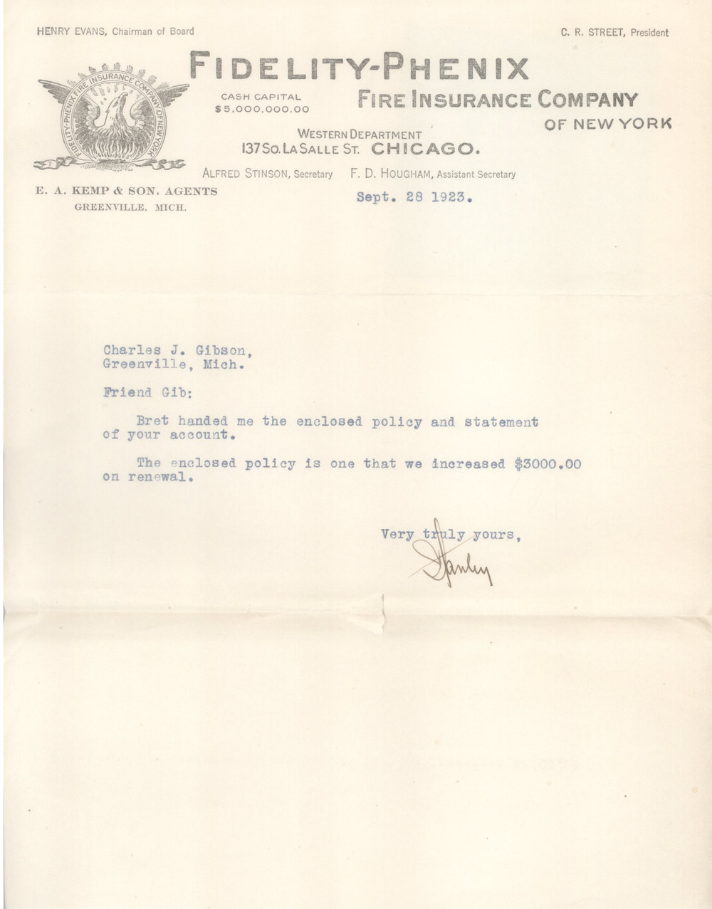 1923 Letter from L. Stanley Kemp to Charles Gibson regarding his fire insurance policy.
