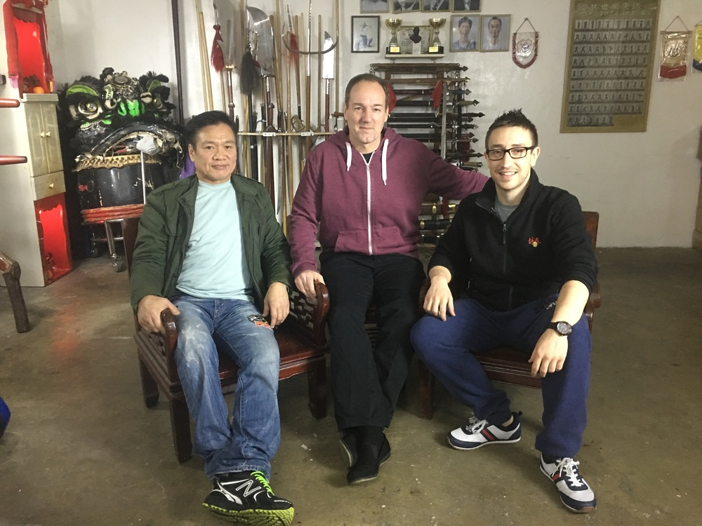 Shaw Brothers legend Lo Meng (Five Venoms, Ip Man 2 & 3), Bey Logan (Crouching Tiger, Hidden Dragon II producer, Kung Fu Jungle) and Alex Richter in Hong Kong filming   World of Fighters  .