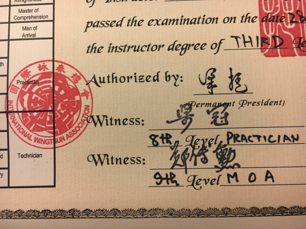 Herr Leung Ting gibt jedem eine Urkunde – sogar mir!
