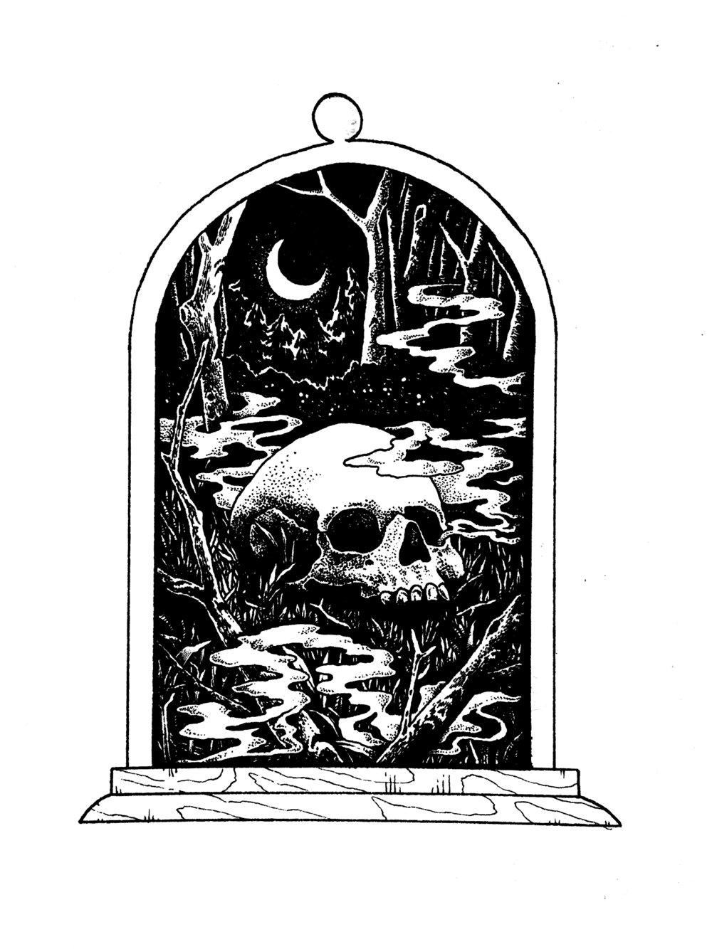 Into the Dark Woods Bell Jar Inktober