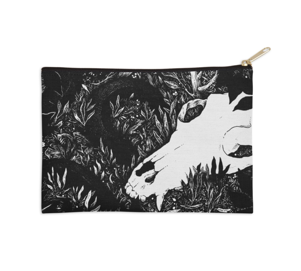 Into the Woods Snake and Skull ZIp Pouch Mockup