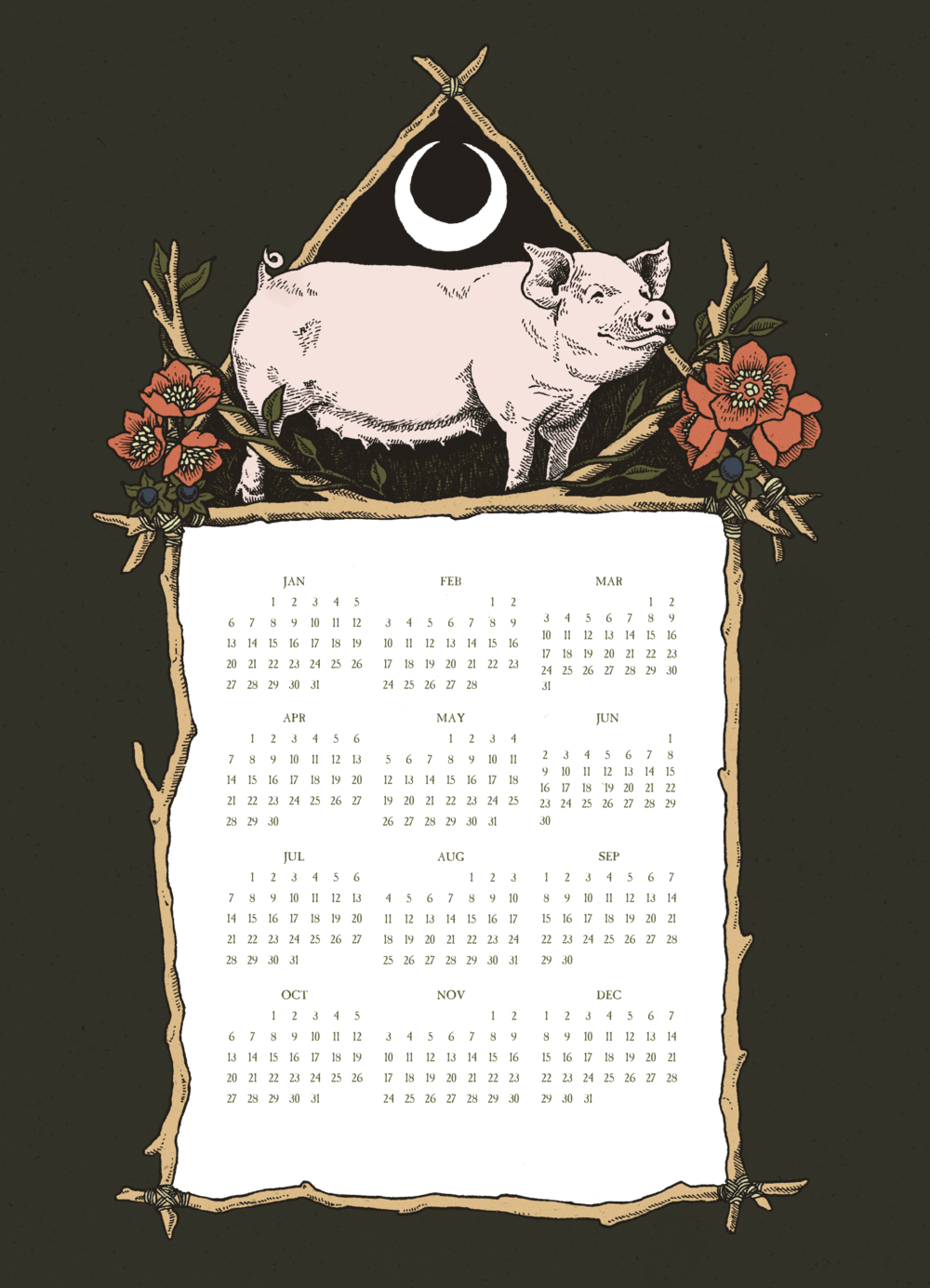 2019 Calendar Threadless Year of the Pig