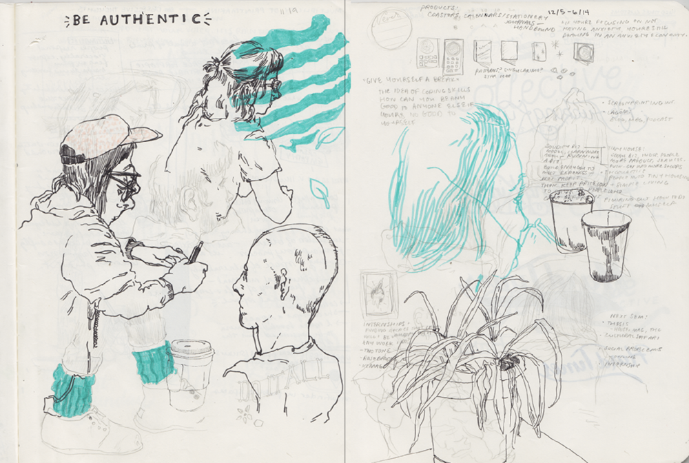 Spread from Kendall Quack Sketchbook