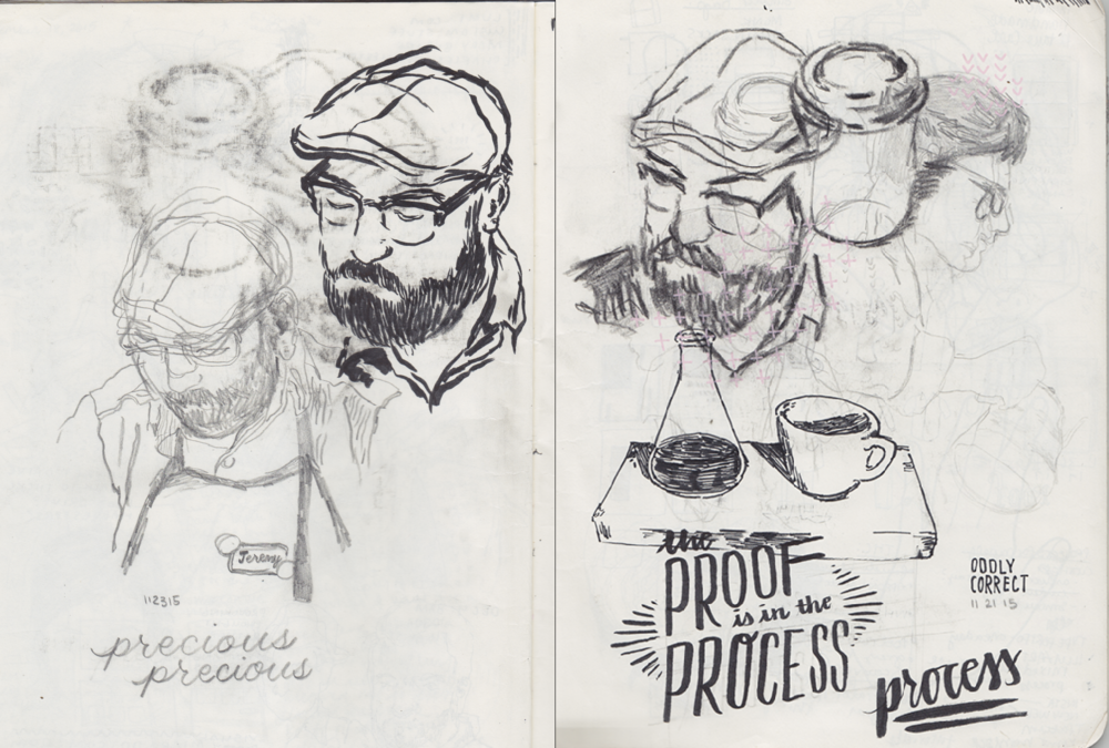 Spread of Sketchbook by Kendall Quack