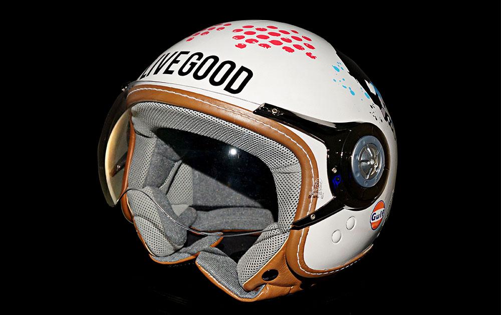 'SHOOK / LIVE GOOD' MOTORBIKE HELMET DESIGNED PROFESSIONALLY VINYL WRAPPED ONE OFF. £1500