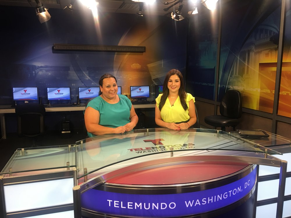 Karina speaks to Telemundo affiliate in Washington, D.C. last July 2017 about Moms Clean Air Force's annual Play-In for Climate Action. Photo: Benitez Strategies.