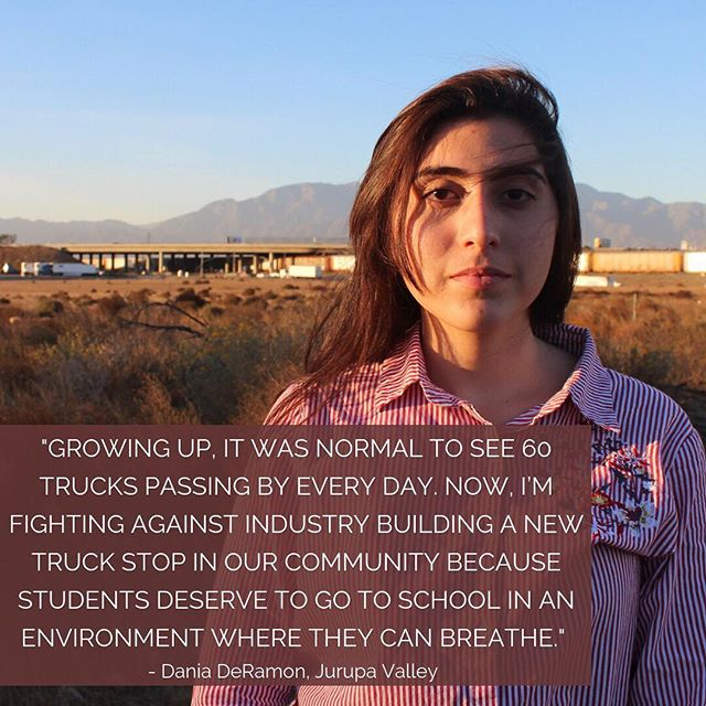 We're so excited to partner with @power_shift on #frontlinestopower, a project training young frontline activists to run for office and lead winning climate campaigns! On Wednesday, we sat down with 17 year old Dania DeRamon - a high schooler leading the charge against environmental racism in Jurupa Valley, California, an area where ozone pollution exceeds the federal standard by 47 times. Dania is working with @ccaej_ to take her fight to City Council in December - stay tuned for ways to support her! . . . . . . . . . . . . . . . #frontline #climate #change #climatechange #environment #environmental #instachange #youngleaders #activism #students #latinx #latino #latina #hispanic #pollution #truckstop #asthma #environmentalracism #environmentaljustice #climatejustice #waterislife #indigenous #peoples #rights #culture #america #woman #youth #greatoutdoors