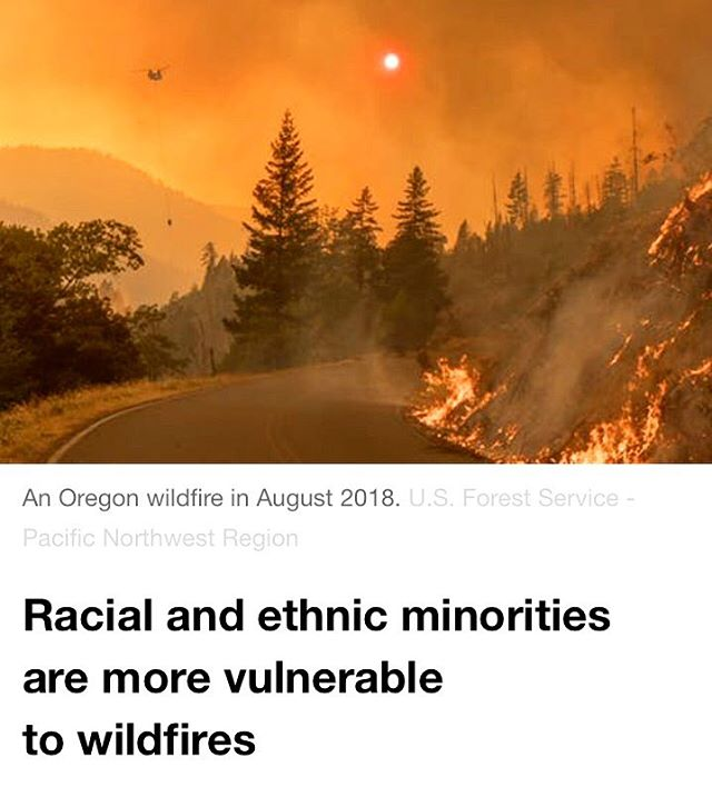 """BREAKING: A new analysis shows that, """"Communities that are majority black, Hispanic or Native American are over 50 percent more vulnerable to wildfire compared to other communities. Native Americans in particular are six times more likely than other groups to live in the most vulnerable communities."""" * As we grapple with the reality that wildfires are increasing in frequency and severity due to climate change, it is necessary to amplify the voices and solutions of communities of color, and indigenous communities that are on the frontlines. * #GivingTuesday kicks off the giving season for many of you and, as you consider where to give your gifts, we would encourage you to support our youth-led work. All of your generous donations are now tax deductible & the best part is that each dollar that you give will support work led by and for the communities that we serve! * Thank you for your continued dedication to climate justice & envisioning and creating a world where every person is taken care of during times of disaster or scarcity. We are honored to be in this fight with you 🙏. . . . . . . . . . . . . . . . #donation #dogood #give #charity #money #climatechange #activism #philanthropy #resist #resistance #youth #youthaction #action #climate #climateaction #blacklivesmatter #poc #indigenous #frontline #change #students #environmentalism #environment #indigenous #rights #instachange #culture #environmentaljustice #climatejustice"""