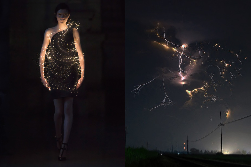 Match #339 Yiqing Yin Couture Spring 2016 | Lightings caused by the Indonesian volcano Kelud, East Java