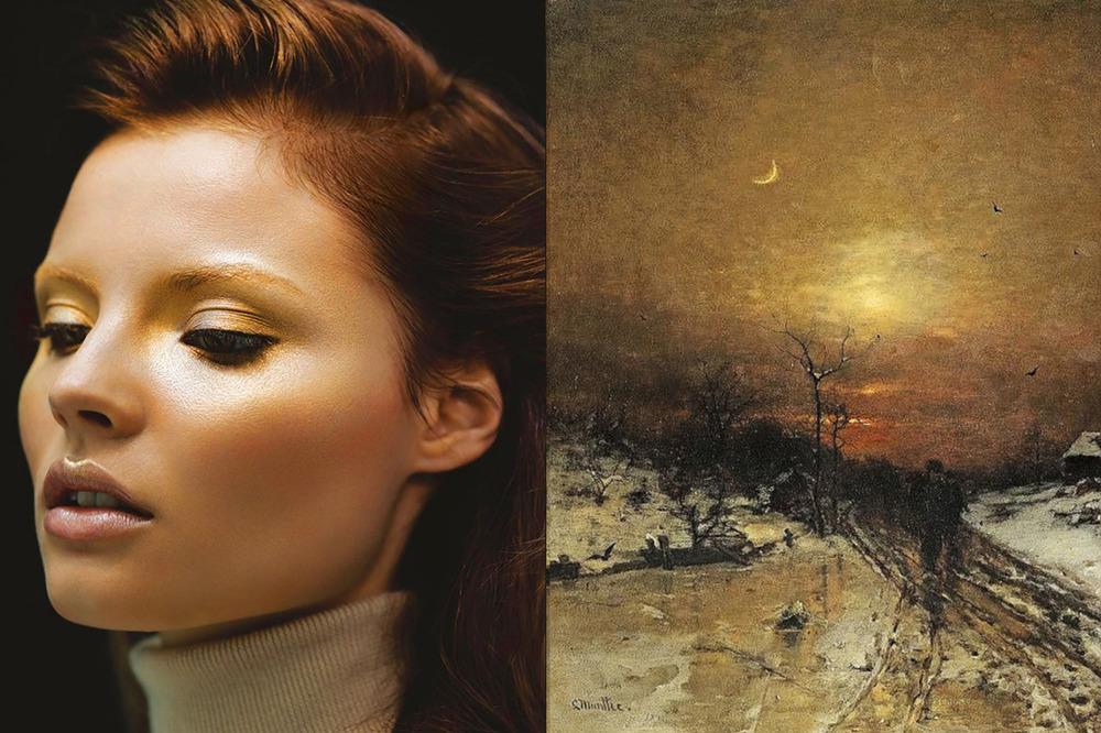 Match #331 Magdalena Frackowiak by Nathaniel Goldberg for Vogue Japan January 2009 | Moonlit Winter Landscape (detail) by Ludwig Munthe, 1871