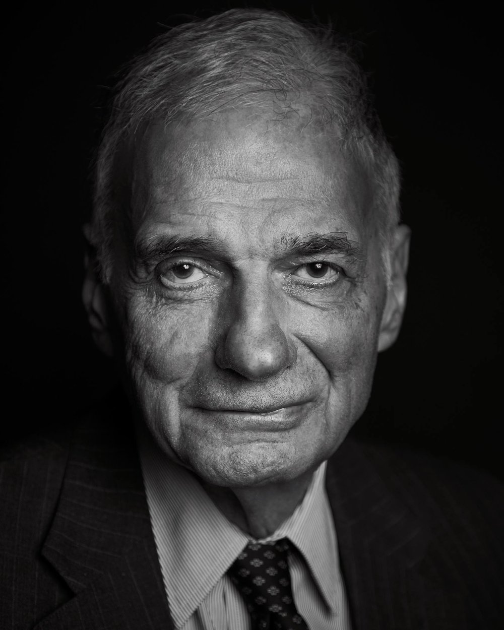 RALPH NADER  I found out about three hours before taking this shot that Ralph Nader was in town, on tour for his latest book. I contacted the library and wrangled up an assistant. I had 45 minutes to setup and about three minutes to shoot. We did the shoot while the library was doing his introduction. I have such great respect and admiration for this man. His advocacy for automobile safety has saved more lives than we can possibly imagine. -  Kevin Patrick Robbins