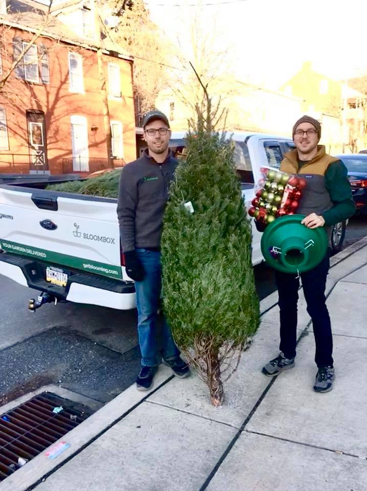 Bloombox Team delivering free trees and decorations in 2017.