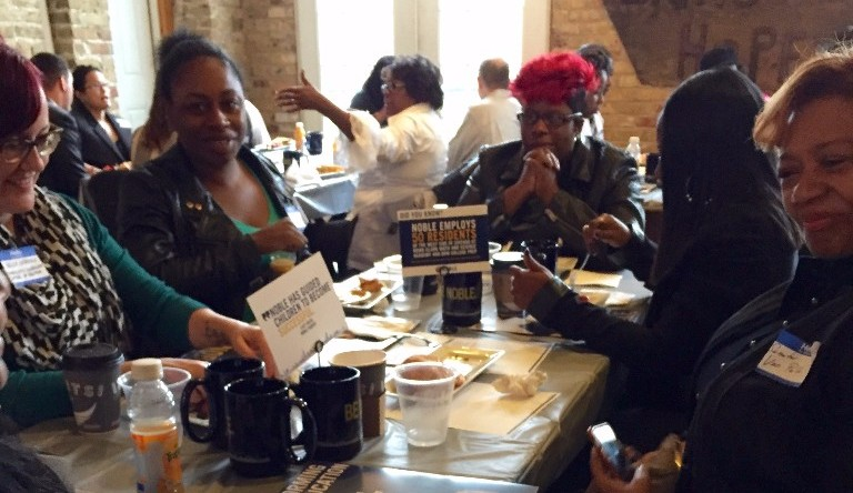 Sen. Van Pelt and parents of Noble students discuss public education policy at Hope Cafe in Chicago on Oct 26th, 2016.