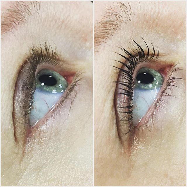 Before and After with black eyelash tint