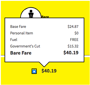 Spirt.com Fare Breakdown