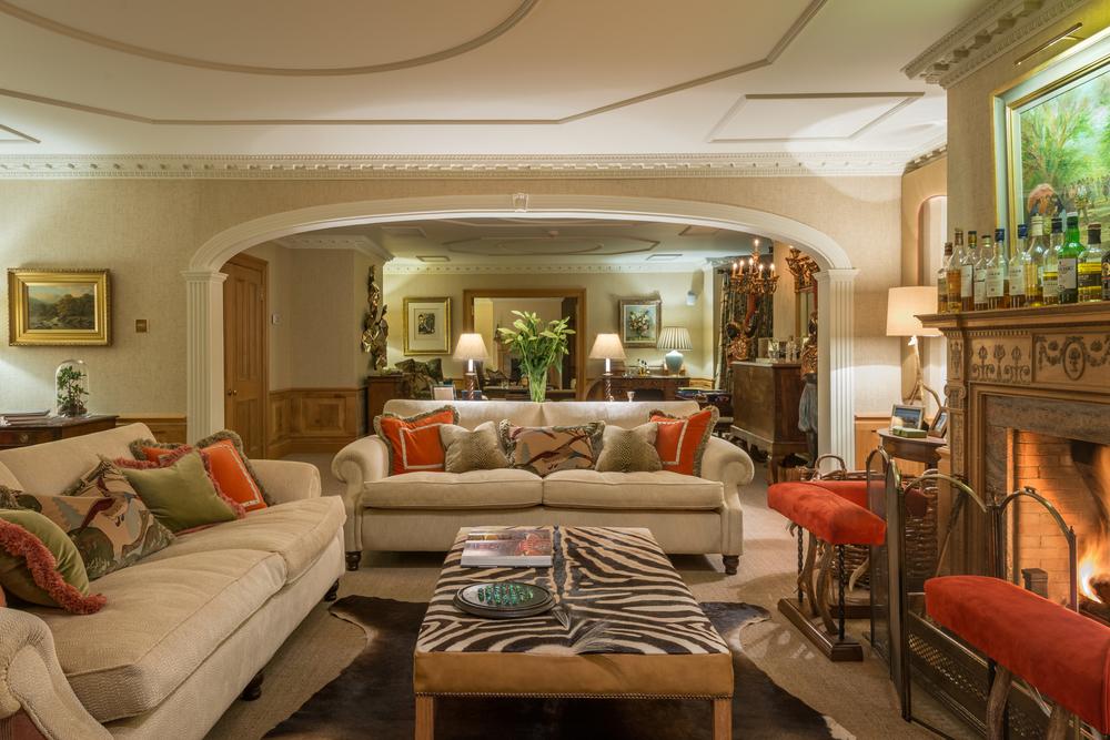 Living room fire country home Edinburgh