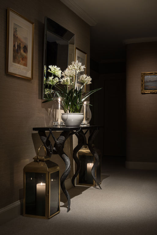 Hallway interior design flowers decorative