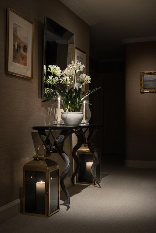 Hallway interior design flowers decorative