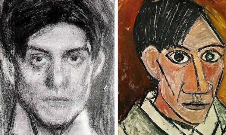 https://mymodernmet.com/pablo-picasso-self-portraits/ Sjálfsmynd Picasso 18 ára (v) og 25 ára (h).