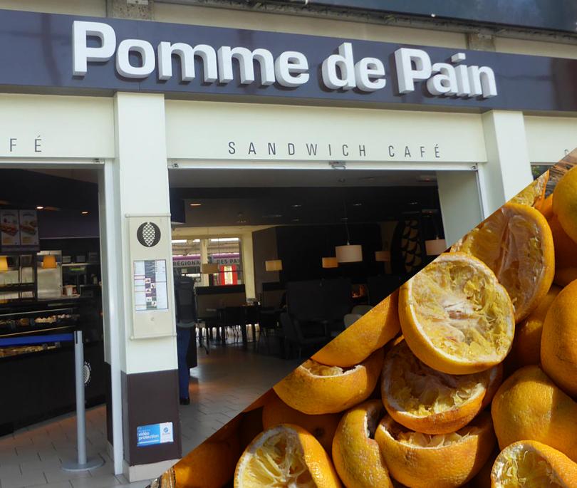 Pomme de Pain - Besoin de patienter avant de prendre le train ? Pomme de Pain propose des jus d'oranges pressées et de délicieux cafés, sur place ou à emporter !Marc de cafés et peaux d'oranges seront collectés et valorisés en compost par Cocycler deux fois par semaine ! Bravo !RDV dans le Hall de la Gare d'Angers