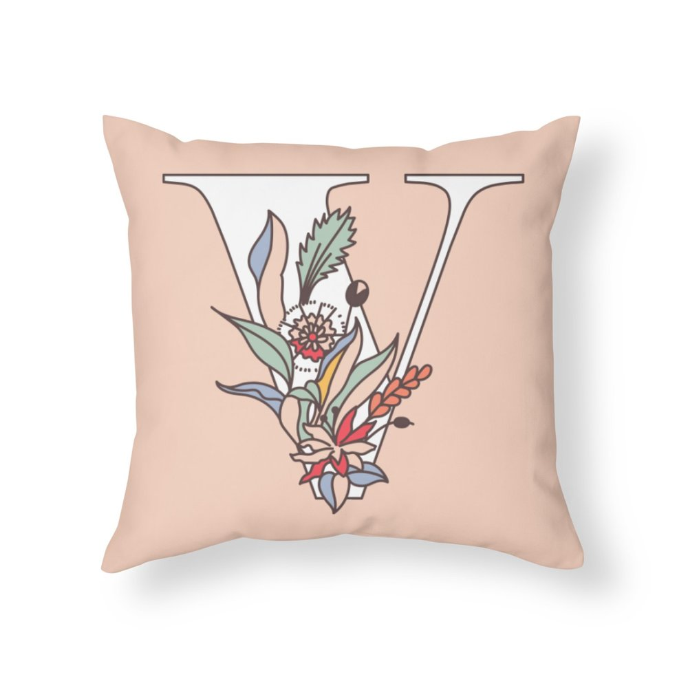 Throw Pillow - Floral Letter V