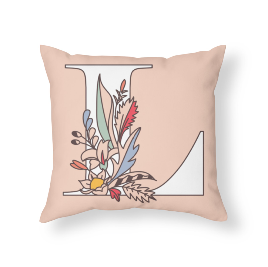 Throw Pillow - Floral Letter L