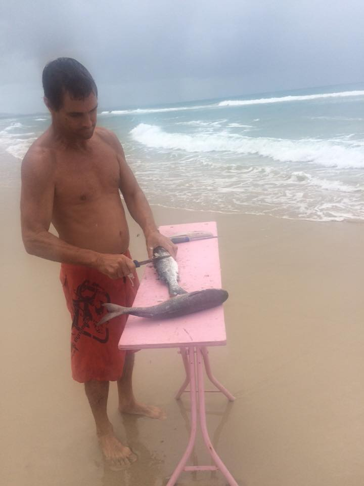Neil skinned the fish right on the beach after caught it.