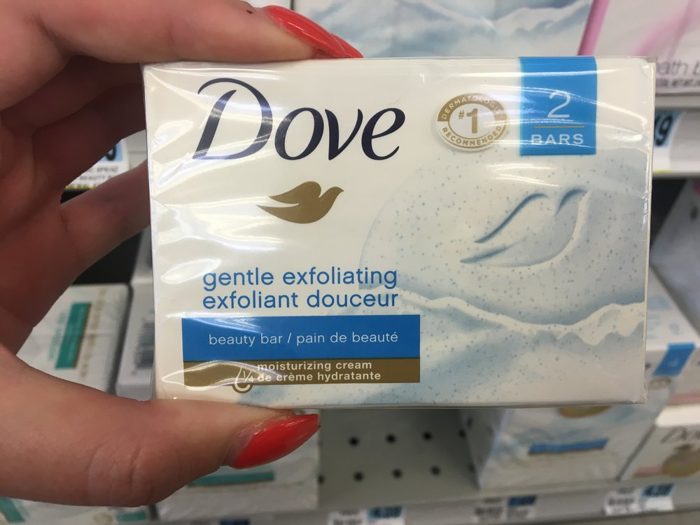 Observe how Dove uses the term beauty bar instead of saying it is soap anywhere on the label
