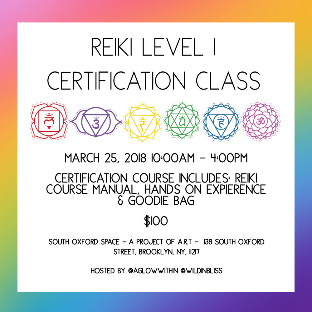 3/25/2018 :: NYC / Brooklyn Reiki 1 Certification - Join myself and Carolyne Gallo for a Reiki 1 certification class.