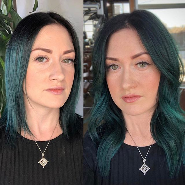 All hands on deck when the stylist gets styled ✨  @hairtalkusaextensions installed by@sarastosestyles. color refresh@allencyrusk(green magician is@hairbylindsaybeebe). Lashes@makemeupkat. Custom extension coloring@katierussellhair#oshohappy . . . . . . . #nashville#nashvillehair#nashvillehairextensions#hairtalk#hairtalkextensions#longhair#greenhair#lashextensions#berryhill#modernsalon#behindthechair#americansalon#hairbrained#redken#pravana#davines#oribe#oribeobsessed#green#teal#emerald#emeraldhair#tapeinextensions