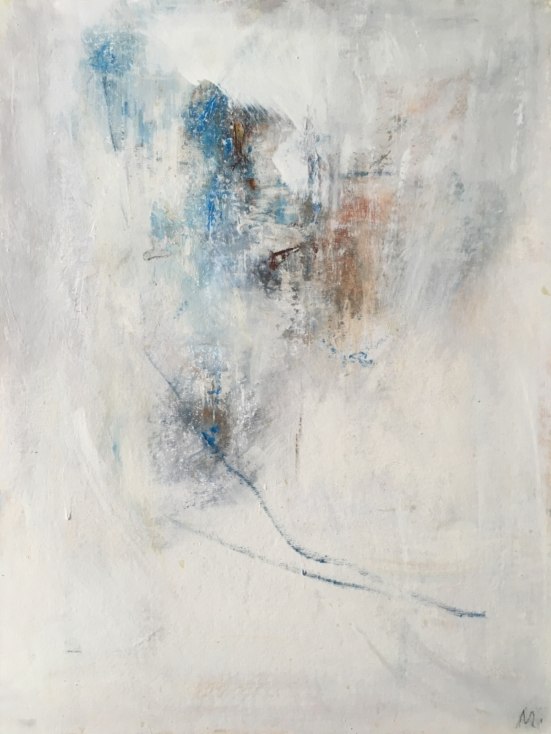 """Series V iii 24""""x18"""" OIl on Canvas with emulsion and chalk SOLD"""