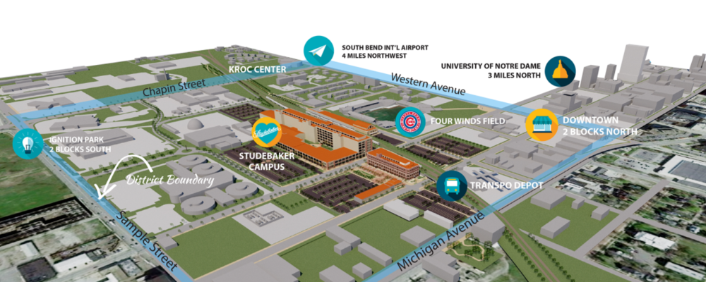 Plot of redeveloped Studebaker Campus