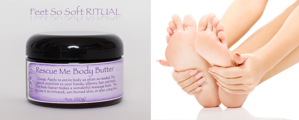 This natural body butter is the perfect remedy for dry feet and hands.