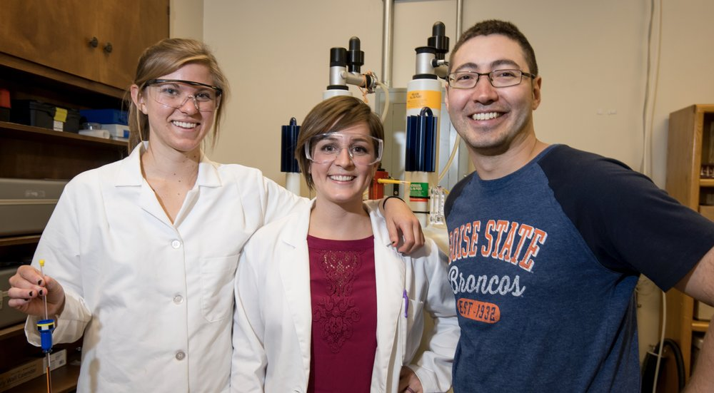 Alison, Melissa, and Mike in the NMR Facility in the Department of Chemistry and Biochemistry.  Photo credit: Patrick Sweeney, BSU