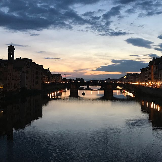 One down to the minute sprint through the airport to make our connection made us appreciate this pretty evening in Florence even more.
