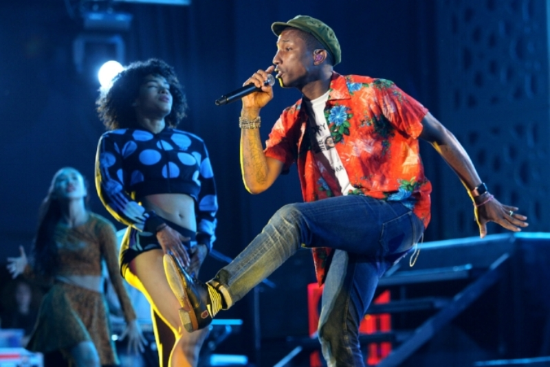 Pictured: Pharrell Williams performs on stage at Morocco's biggest event, Mawazine in 2015.
