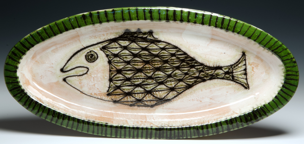 Fish Platter 2016, stoneware, slip , stain, glaze 23.5x11 inches