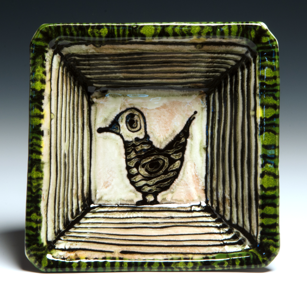 Small Square serving bowl, 2016, stoneware, slip, stain, glaze, 8x8x3