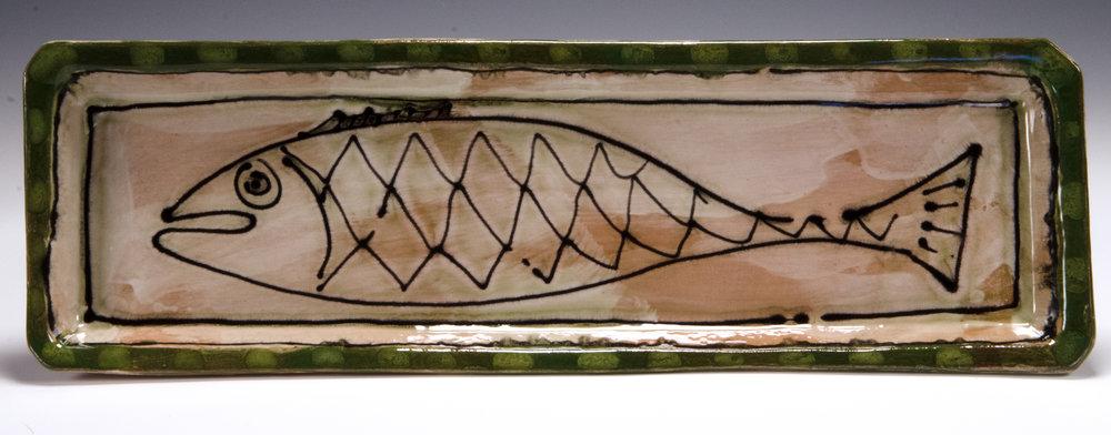 Fish dessert tray, 2016, stoneware, slip, stain, glaze, 19x6 inches