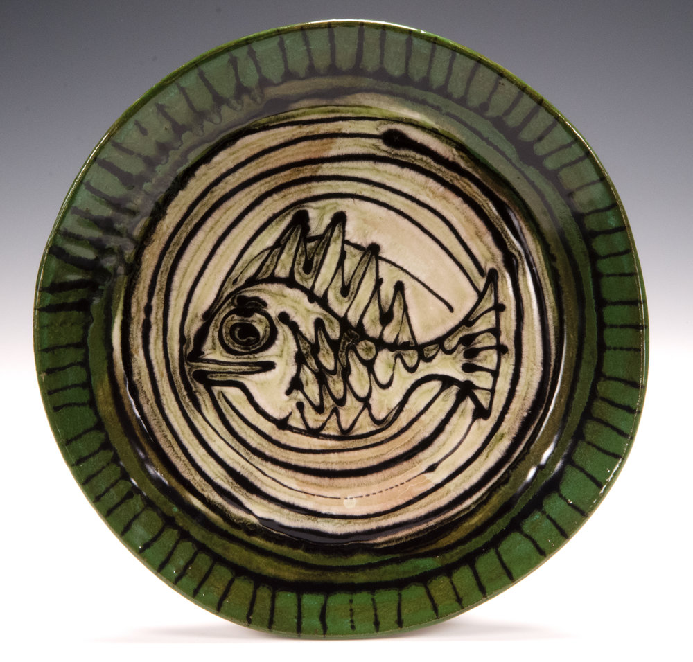 Dinner plate, 2016, slab made, stoneware, slip, stain, glaze 10.5 inches