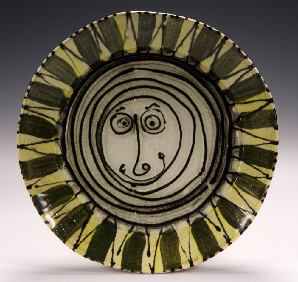 Dinner plate, 2016, slab made, stoneware, slip, stain, glaze, 10.5 inches
