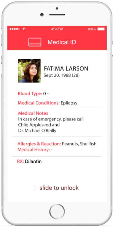display Medical ID card