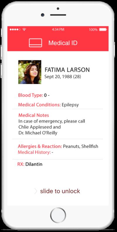 display Medical ID card