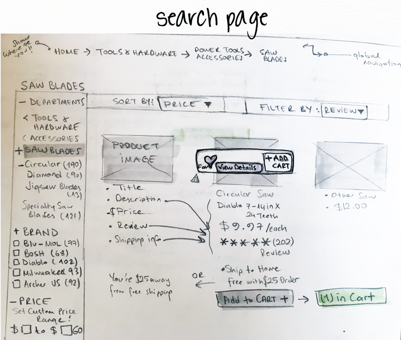 The First version of search result page, wireframe