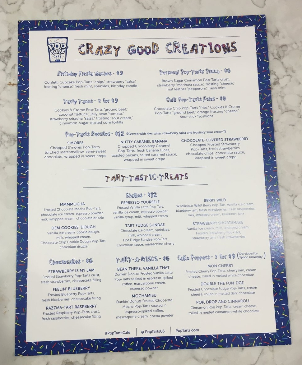 pop tarts pop up cafe new york city - pop tarts - things to do in new york - kellogg's nyc - menu